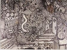 Original J. WHITE  (Am. 20th C)  Fantasy-Sci-Fi-Phantasmagoria Ink Drawing