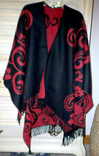Gorgeous and Incredibly Soft Reversible Red & Black Poncho Cape by i-raise