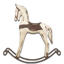 Decorative Vintage Collectibles Primitive White Wooden Rocking Horse Figurine