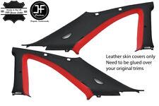 BLACK & RED 2X B C PILLAR LEATHER COVER FITS NISSAN SKYLINE GTS GTR R33 93-98