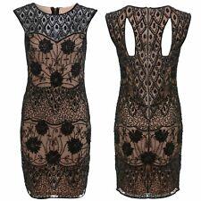 Short Black Bodycon Dress Ladies Size 6 Embellished Sleeveless Nude Underlay