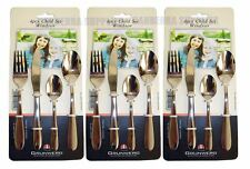 3 X GRUNWERG WINDSOR STAINLESS STEEL 4 PIECE CHILD CHILDREN CUTLERY SET