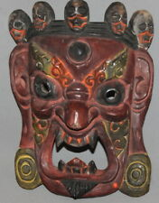 VINTAGE ASIAN DEAMON HAND CARVING PAINTED WOOD MASK