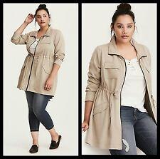 NWT Torrid Plus Size 2X Tan Drape Twill Anorak Jacket (#12-28)