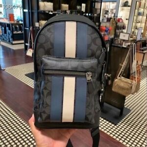 Nwt Coach Men's West Pack In Signature Canvas With Varsity Stripe