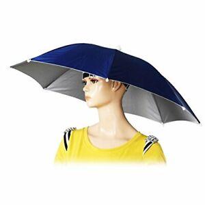 "22"" Diameter Elastic Headband Fishing Umbrella Hat Sun Rain Hat Dark Blue"