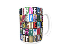 GABRIELLE Coffee Mug / Cup featuring the name in photos of sign letters