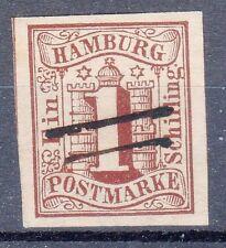 Hamburg, Sc#2, VF Used, Black pen-strokes cancel, **UNcommon**, Germany
