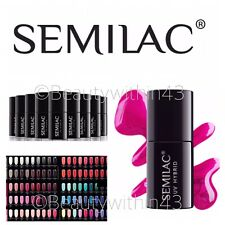SEMILAC Hybrid Soak Off Nail Gel Manicure LED/UV 7ml PICK FROM 250 COLOUR