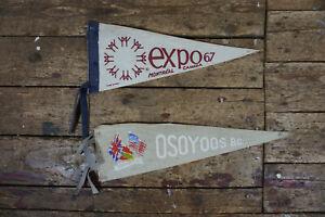 2 x alte Fahne Wimpel Canada Montreal Expo 1967 Osoyoos BC Kanada 60er 70er