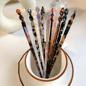 Chinese Style Hair Sticks Vintage Acetate Chopstick Womens Hairpins Hair Clips