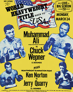 Mohammed Ali vs Chuck Wepner Fight Poster -  8x10 Photo