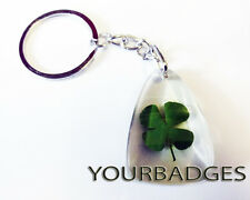 New Lucky 4 leaf clover key chain keyring good Luck Protection Cloverleaf Amulet