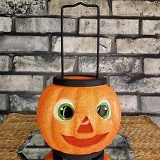 HAPPY JACK Glitter Pumpkin Lantern Votive Candle Holder Festive Halloween