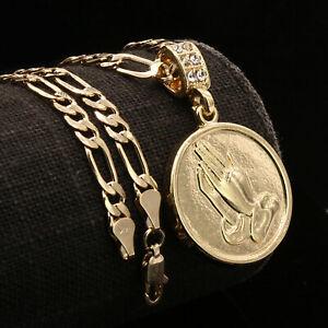 "Men's 2pc 14k Real Gold Pl Round Plain Prayer Hands w/ 5mm 24"" Figaro Chain SET"