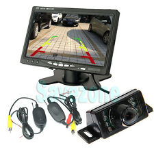 "Wireless Reversing Parking Camera 7LED Sensor + 7"" TFT LCD Car Monitor Kit UK"