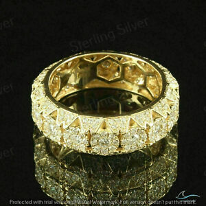 2.50 CT Diamond Men's Eternity Cluster Band Ring 14K Yellow Gold Over 925-Silver