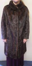 Vintage Genuine Dark Brown European Mink Fur long coat L UK 14 Euro 42