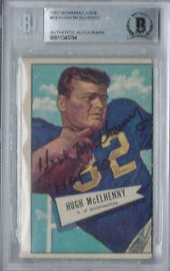 HUGH MCELHENNY 1952 BOWMAN LARGE SIGNED AUTO AUTOGRAPH ROOKIE RC BGS AUTHENTIC