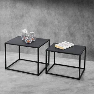 Beistelltisch 2er-Set Rechteckig Sofatisch Nachttisch Metall Kratzfest Tisch