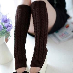 Japanese Women Winter Warm Knit Crochet High Knee Leg Warmers Leggings Boot Sock