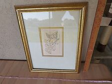 Vintage print or drawing USA angel cherubin amour décor framed with glass