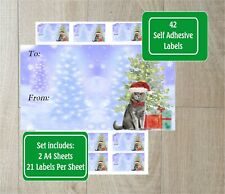 British Shorthair Cat Christmas Labels Set of 42  Handmade by Starprint G & D