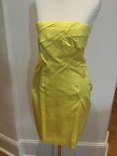 Mia Miu Yellow Strapless Dress In Silk