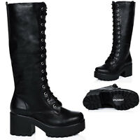 WOMENS HEELED CLEATED SOLE LACE UP LEATHER STYLE KNEE HIGH BOOTS SIZE 3 - 8