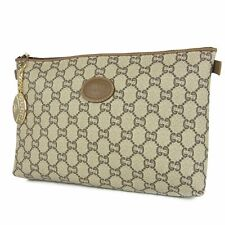 """Auth GUCCI PLUS Vintage W10.2"""" GG PVC Leather Pouch Clutch Bag Italy F/S 10114b"""