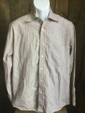 Robert Graham Mens Red Plaid And Striped Long Sleeve Button Front Shirt M Medium