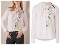 AUTH Ted Baker LOVII Elegant print ruffle blouse top, Pink, Ted Size: 1, 4