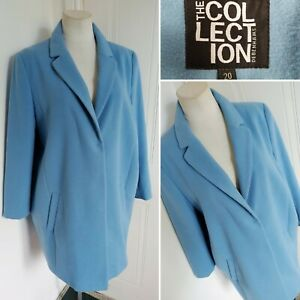 Ladies THE COLLECTION DEBENHAMS Baby Pale Blue Cocoon Coat Jacket 20 Smart