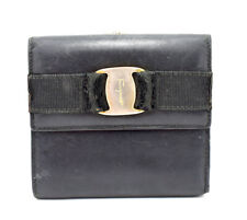 Authentic Salvatore Ferragamo Vintage Women Leather Wallet Purse Black