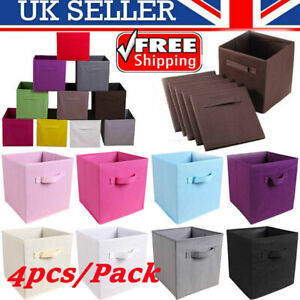 4x Foldable Storage Canvas Collapsible Folding Box Clothes Organizer Fabric Cube
