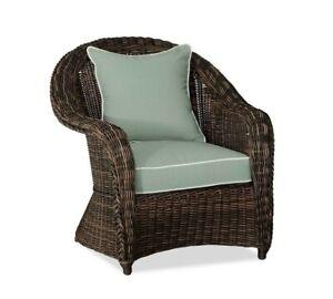 Pottery Barn Sunbrella Torrey Roll Arm Occasional Chair Slipcover-Sea w/ Piping