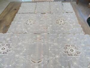 Fabulous Antique French Tambour Lace Dresser Set * Rare * Complete