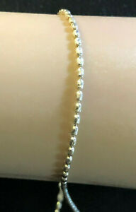 """Sterling Silver Ankle Bracelet Bead Ball Faceted Chain 1.8m 10"""" 2.8g Italy #1032"""