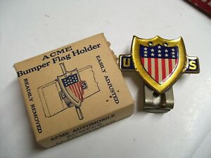 Original old 1920 's- 1930s Vintage nos auto Bumper flag bracket Ford gm chevy