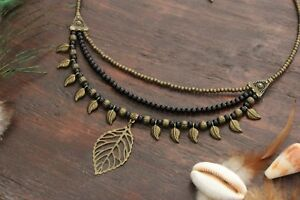 Stunning Handmade 3 Layer Black Beaded Necklace with Bronze Leaf Feathers Charms