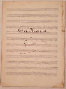 SPARTITO MANOSCRITTO AVE MARIA CHARLES GOUNOD PIANOFORTE ANNI '30