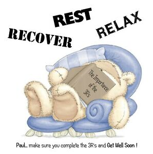 PERSONALISED GET WELL CARD-FIZZY MOON READING 3R'S REST,RELAX,RECOVER - ADD NAME