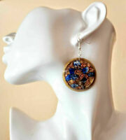 "Orgone ""Sissy"" pendant earrings, Lapis lazuli, copper, new age reiki chakra."