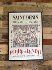 LARGE ORIGINAL c1961 SAINT DENIS FOIRE DU LENDIT FRENCH POSTER PARIS MID CENTURY
