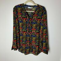 Old Navy The Tunic Shirt Women's Top Size Large Floral Long Sleeves Casual Work