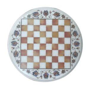 "18"" Marble Inlay Chess Table Top Semi Precious Stones Work Home Decor"