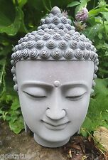 "latex w plastic back buddha head  mold plaster concrete casting mould 8""H"