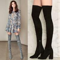 Womens Over The Knee Boots Slim Pointed Toe Suede Chunky High Heels Zipper Shoes