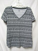 MOSSIMO Top Shirt xXL 14 Bust 44 Novelty Tee Black/white Geoprint V-neck