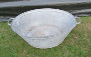 TIN BATH TUB VINTAGE GALVANISED WASHING TUB